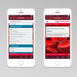 Haema – mobile Webseite